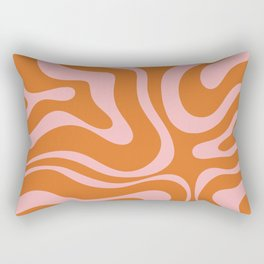 Liquid Candy Retro Swirl Abstract Pattern in Orange and Pink Rectangular Pillow