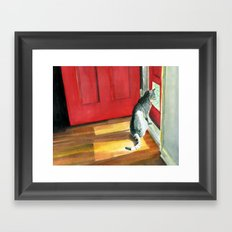 Quigley the Door Cat Framed Art Print
