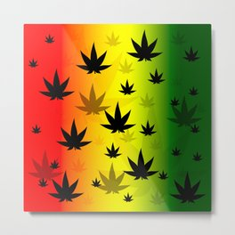 Pattern with cannabis leaf shapes on a yellow and red green background. Leaf of a marijuana plant. Metal Print