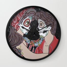 Rockabilly Sugar Skull Wall Clock