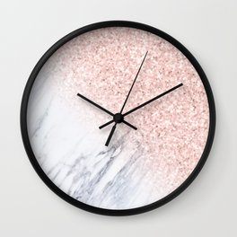 Rose Gold Sparkles White Gray Marble Luxury II Wall Clock