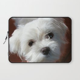 Cute Maltese asking for a treat Laptop Sleeve