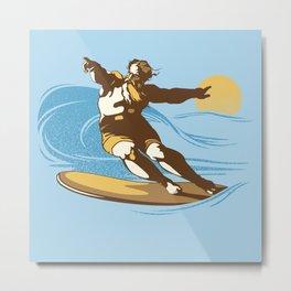 God Surfed Metal Print