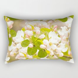 Apple tree branches with lovely flowers and buds on a pastel green background Rectangular Pillow