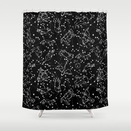 Constellations animal constellations stars outer space night sky pattern by andrea lauren black Shower Curtain