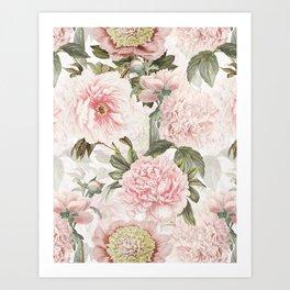 Vintage & Shabby Chic - Antique Pink Peony Flowers Garden Art Print