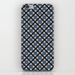 Black and blue tartan iPhone Skin