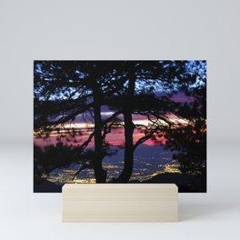 City through the trees. At the mountains Mini Art Print