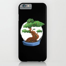 Bonsai Tree painting with red blossoms iPhone Case