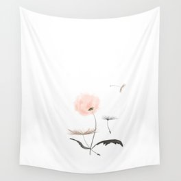 Sweet dandelions in pink - Flower watercolor illustration with glitter Wall Tapestry