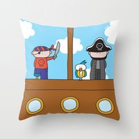 pirates Throw Pillows featuring Pirates by oekie