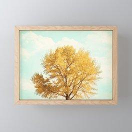 Autumn Fall Tree Photography, Gold Orange Yellow Trees, Mint Teal Aqua Turquoise, Golden Nature Sky Framed Mini Art Print