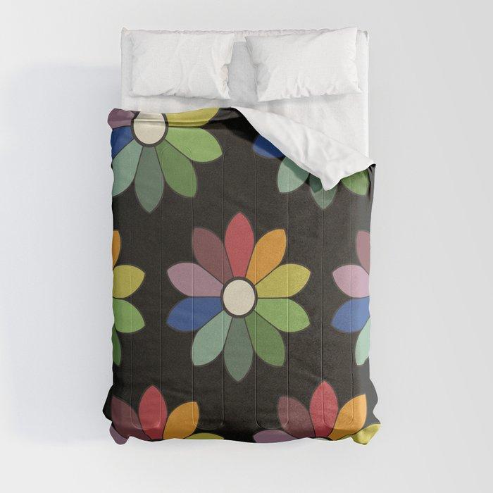 Flower pattern based on James Ward's Chromatic Circle (vintage wash) Comforters