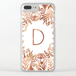 Letter D - Faux Rose Gold Glitter Flowers Clear iPhone Case