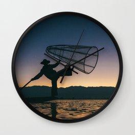 Burmese Fisherman Wall Clock