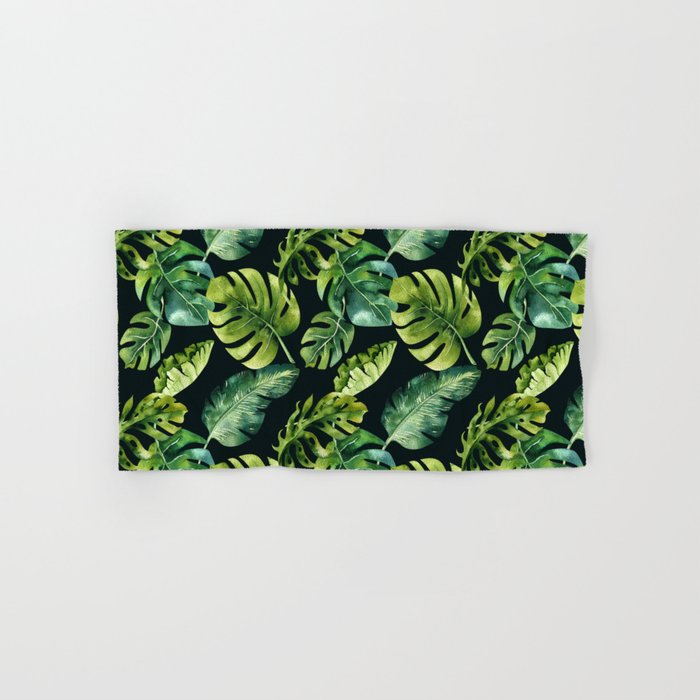 Watercolor Botanical Green Monstera Lush Tropical Palm Leaves Pattern on Solid Black Hand & Bath Towel