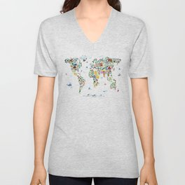 Animal Map of the World for children and kids Unisex V-Neck