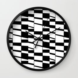 Slanting Rectangles - Black and White Graphic Art by Menega Sabidussi Wall Clock
