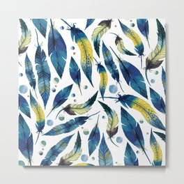 Bohemian Feathers Watercolor Blue and White Metal Print