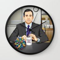 michael scott Wall Clocks featuring Steve Carell as Michael Scott (The Office) by Leo Maia