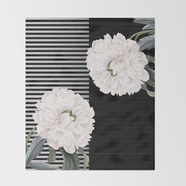 White Peony Black Pinstripe Chic Throw Blanket