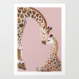 Giraffe mother and baby Art Print