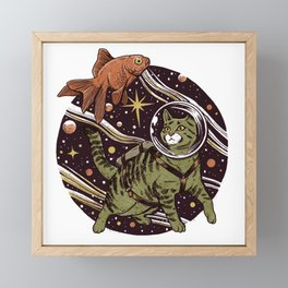 Space Cat Framed Mini Art Print