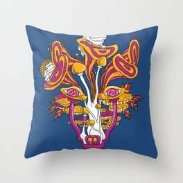 Mushroom wolf Throw Pillow