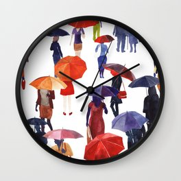People with umbrellas Wall Clock