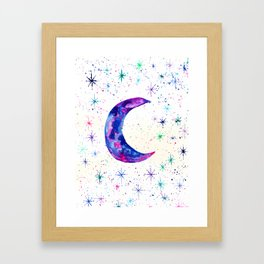 Dreamy Crescent Moon Phase Framed Art Print