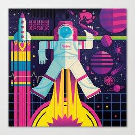 Space Man Rocket Pop Canvas Print