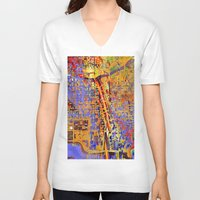 chicago V-neck T-shirts featuring chicago by donphil