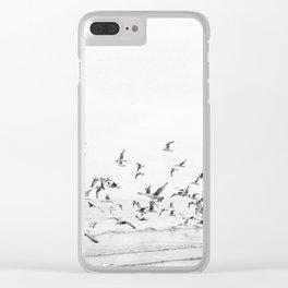 """Seagulls""   Coastal black and white photo   Film photography   Beach Clear iPhone Case"