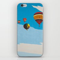 hot air balloons iPhone & iPod Skins featuring Four Hot Air Balloons by Shelley Chandelier
