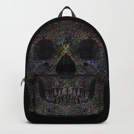 A stippled impressionist take on a skull emerging from a black background Backpack