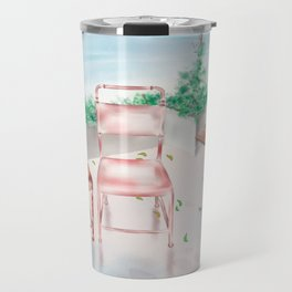 Watercolor Illustration of two iron chairs on roof top Travel Mug