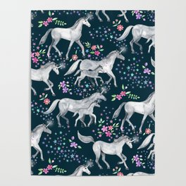 Unicorns and Stars on Dark Teal Poster
