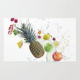 Fresh fruits and berries  with water splash Rug