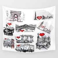cities Wall Tapestries featuring Cities 1  by sladja