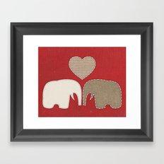 Appliqued Elephants Framed Art Print