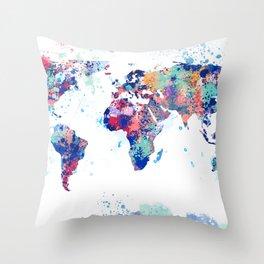 Coloful Splatter World Map Throw Pillow