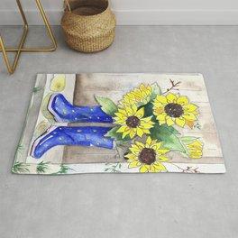Sunflowers in Rain Boots Rug