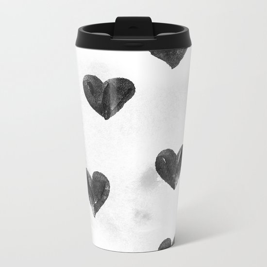 I drew a few hearts for you Metal Travel Mug