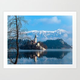 Lake Bled, Slovenia in the Winter Art Print