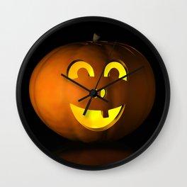 I - Halloween pumpkin on a black reflective surface Wall Clock