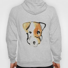 Black Ink and Watercolor Jack Russell Terrier Dog Hoody
