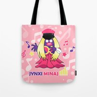 minaj Tote Bags featuring Jynxi Minaj  by The Art of Leena Cruz :)