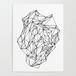 Geometric pattern 02 black and white linework Poster