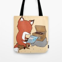 record Tote Bags featuring Record Player by hatrobot