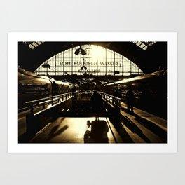 Railway Station Cologne (monochrom) Art Print